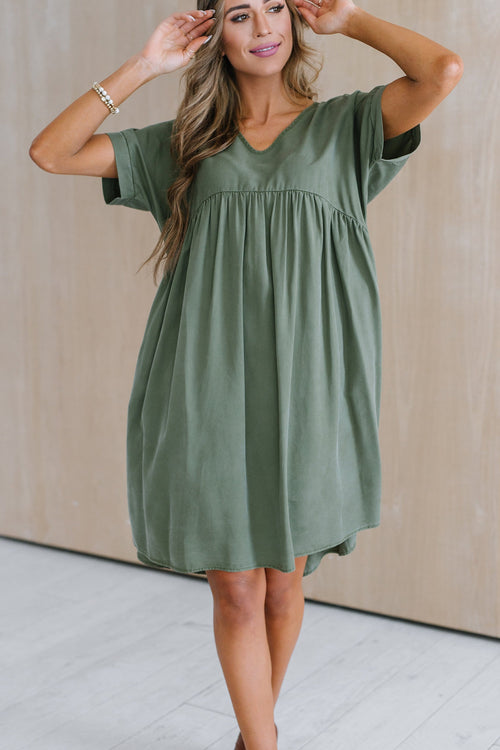 The Ludlow Baby Doll Dress in Olive
