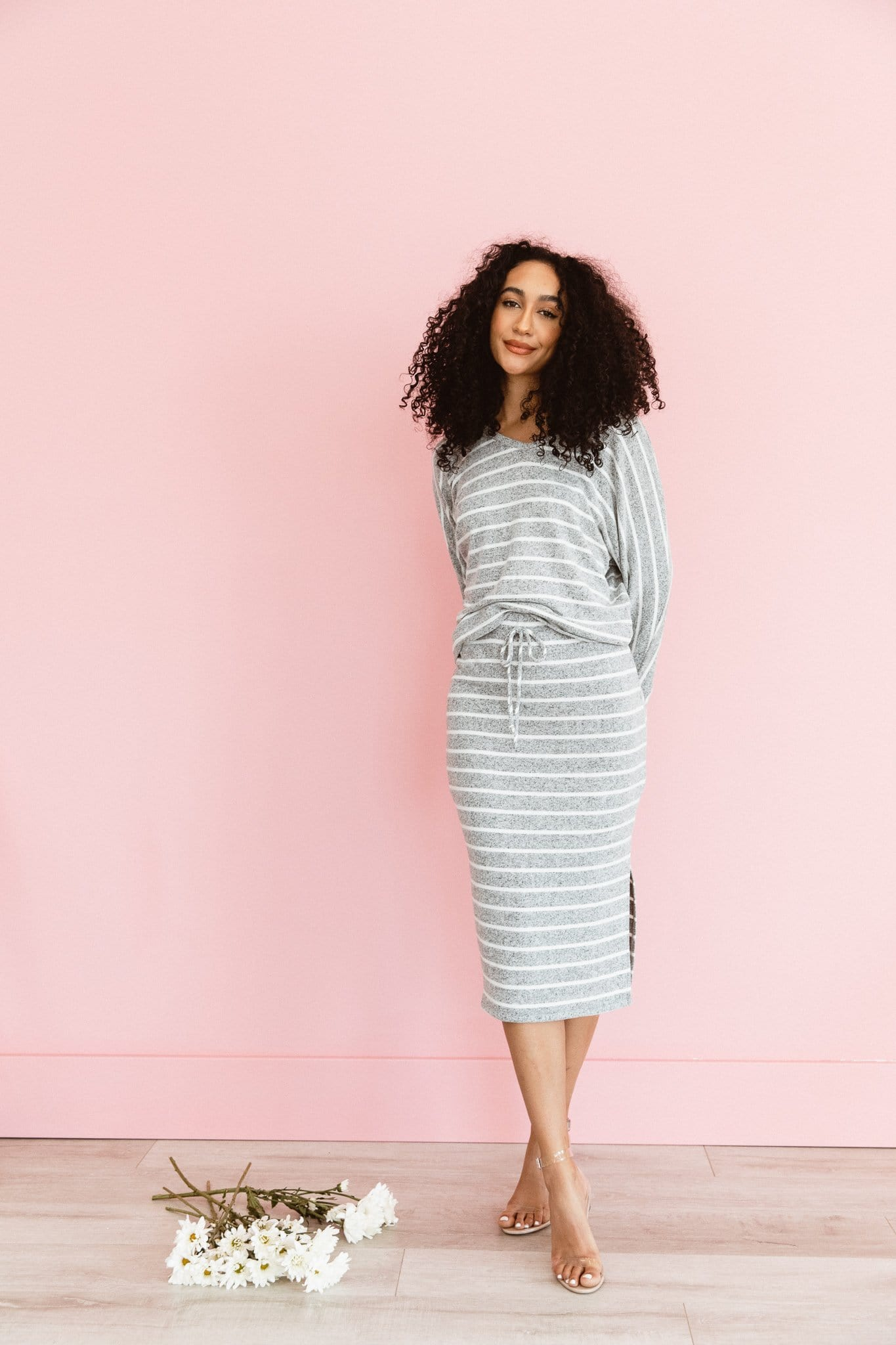The Maddox Lounge Top and Skirt Set in Heather Grey