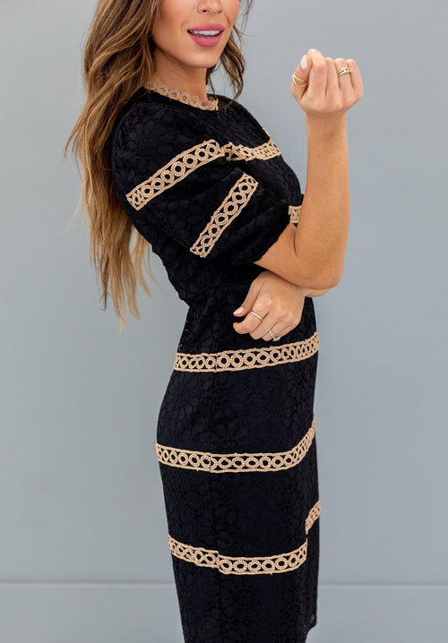 The Madlin Lace Dress in Black