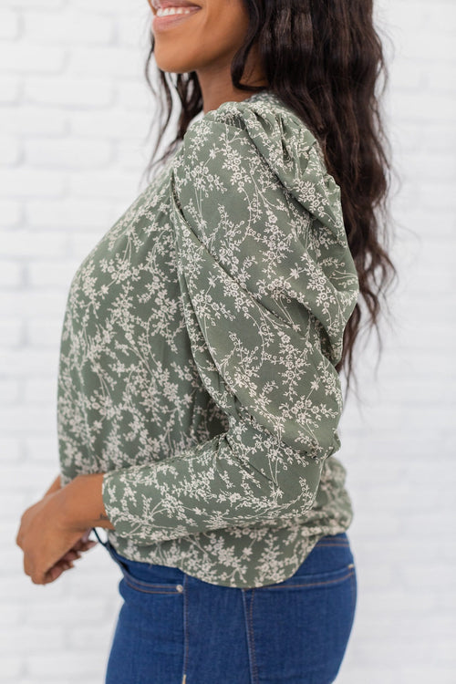 The Maisy Floral Puff Sleeve Top in Olive