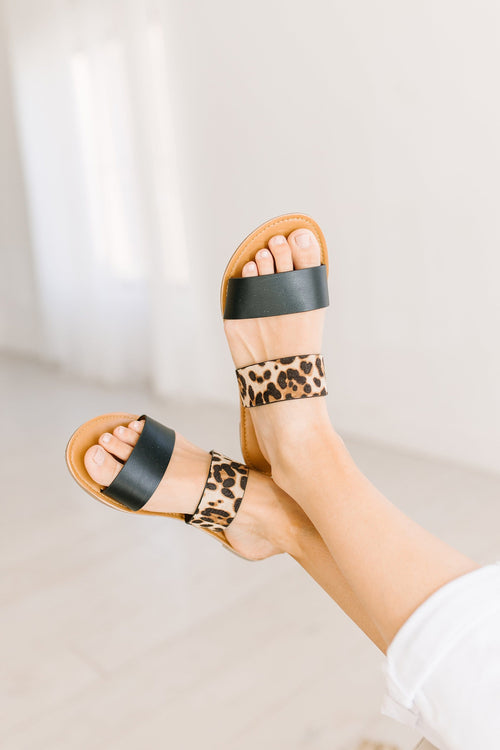 The Malika Double Band Strappy Sandals in Animal Print