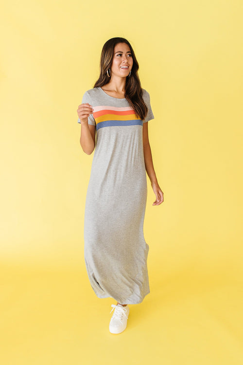 The Mallory Striped Maxi Dress in Grey