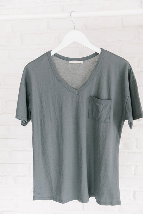 The Marci Pocket Top in Grey