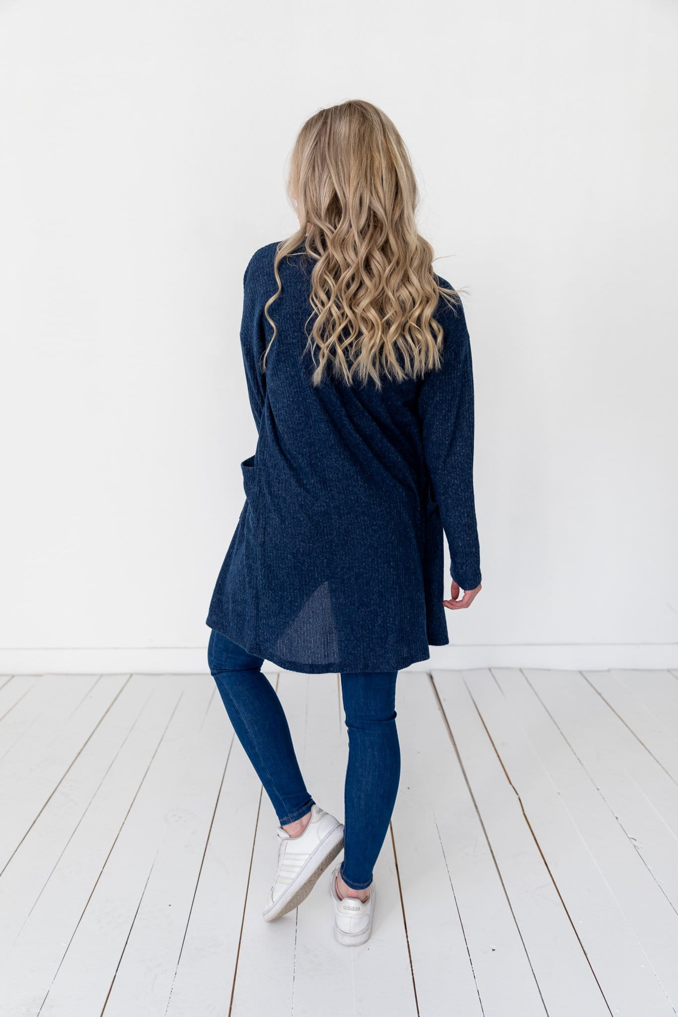 The Marcy Brushed Ribbed Cardigan in Navy