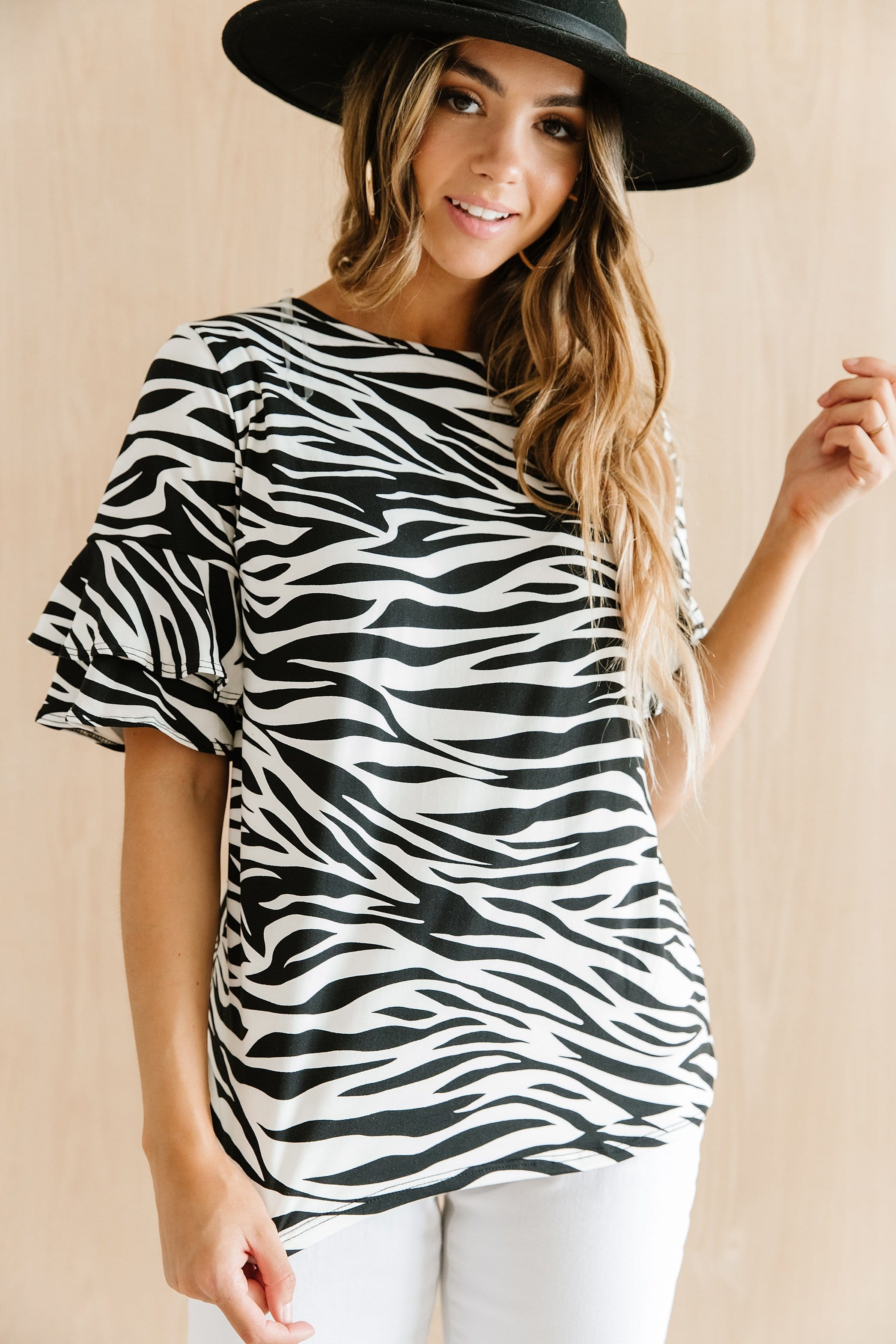 The Mardie Bell Sleeve Top in Animal Print