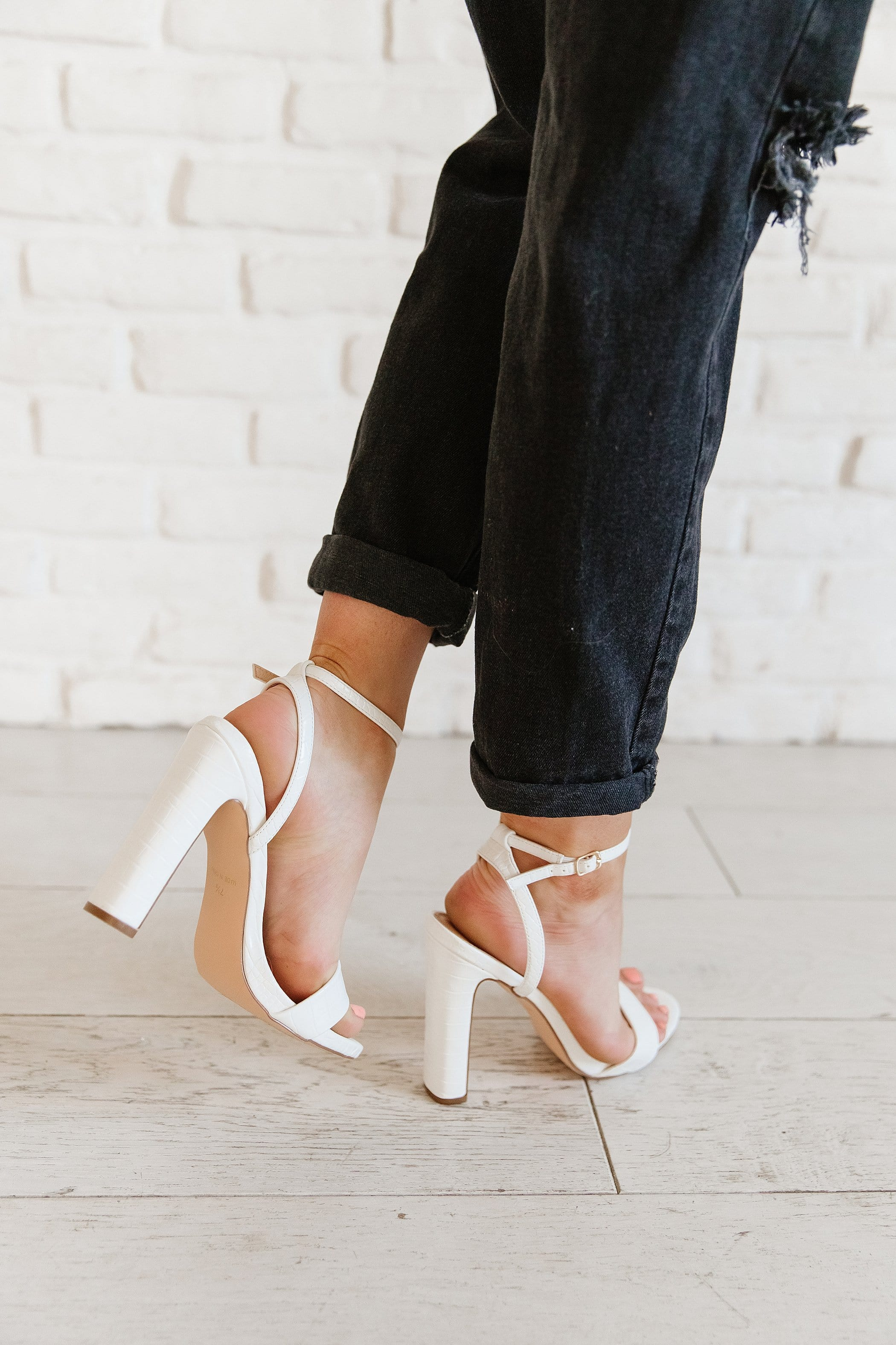The Margo Ankle Strap Shoes in White