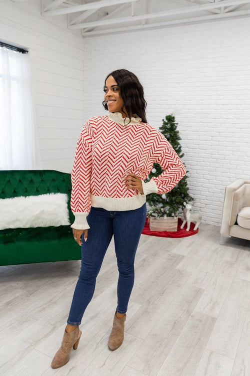 The Mari Ruffle Sweater in Red