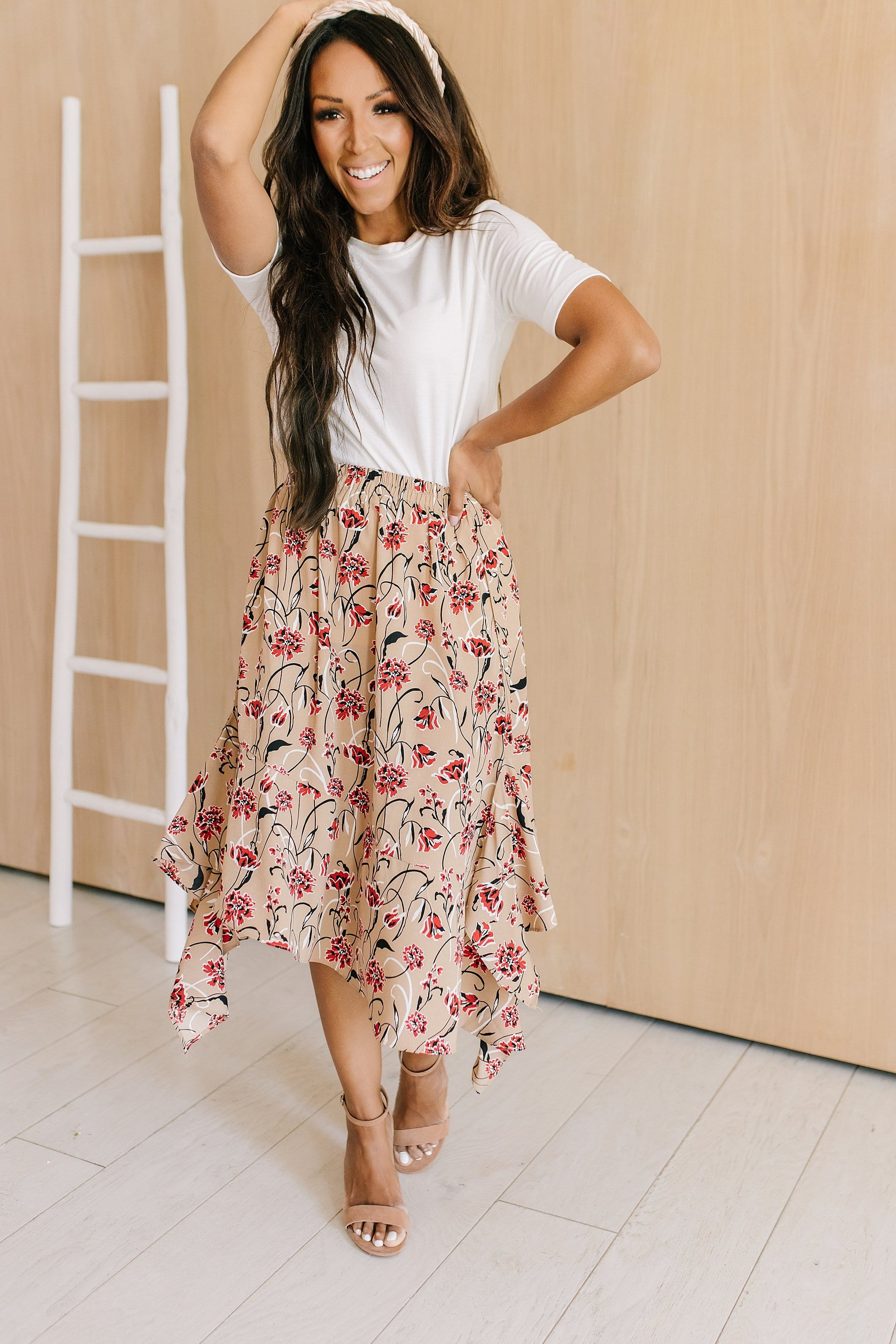 The Marisol Asymmetrical Floral Skirt in Latte