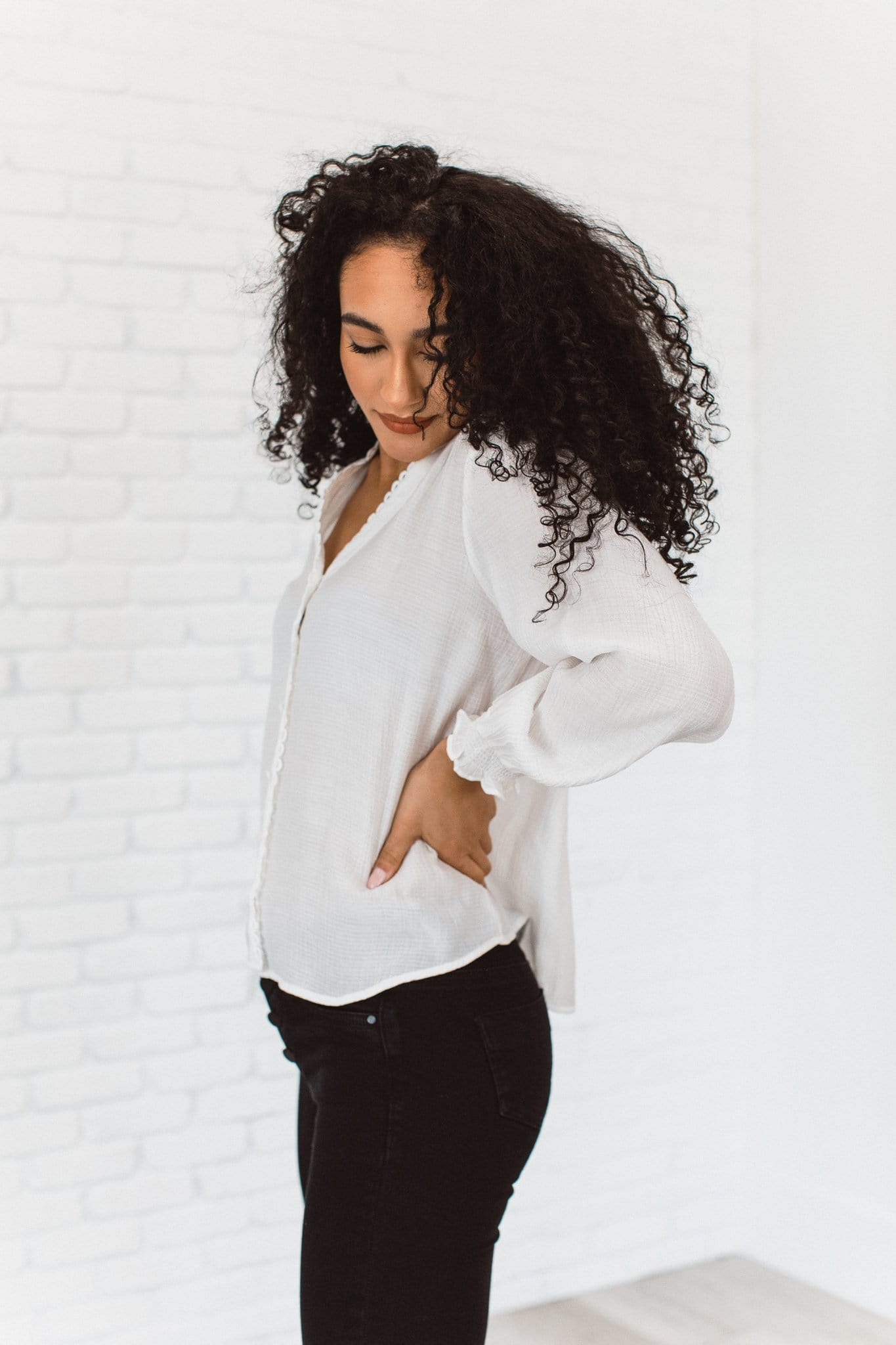 The Marley Loop Trim Top in White