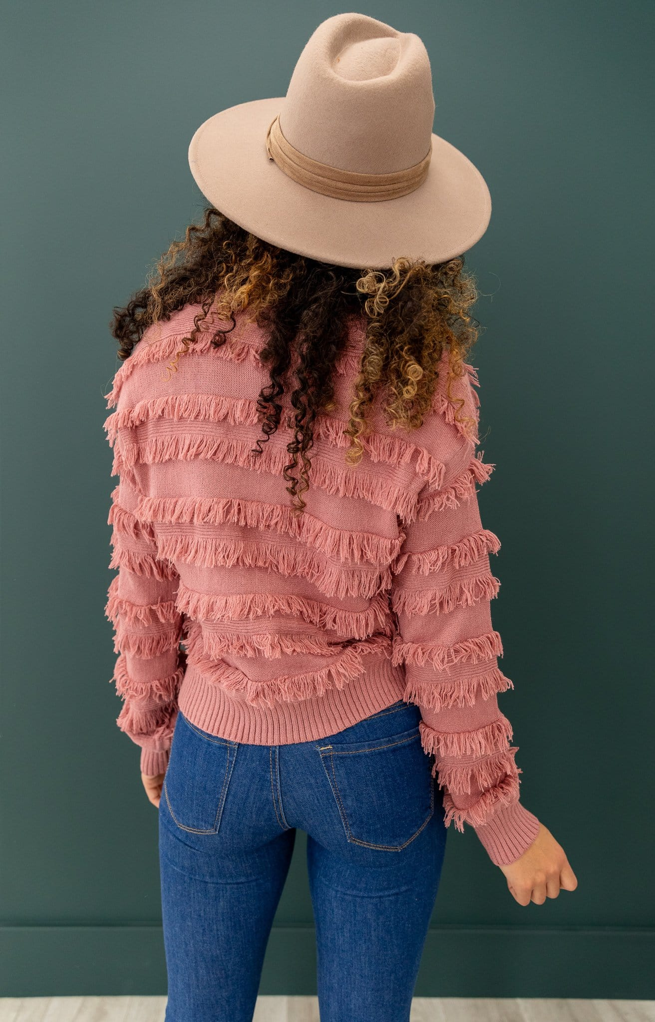 The Maurie Fringe Sweater Top in Mauve