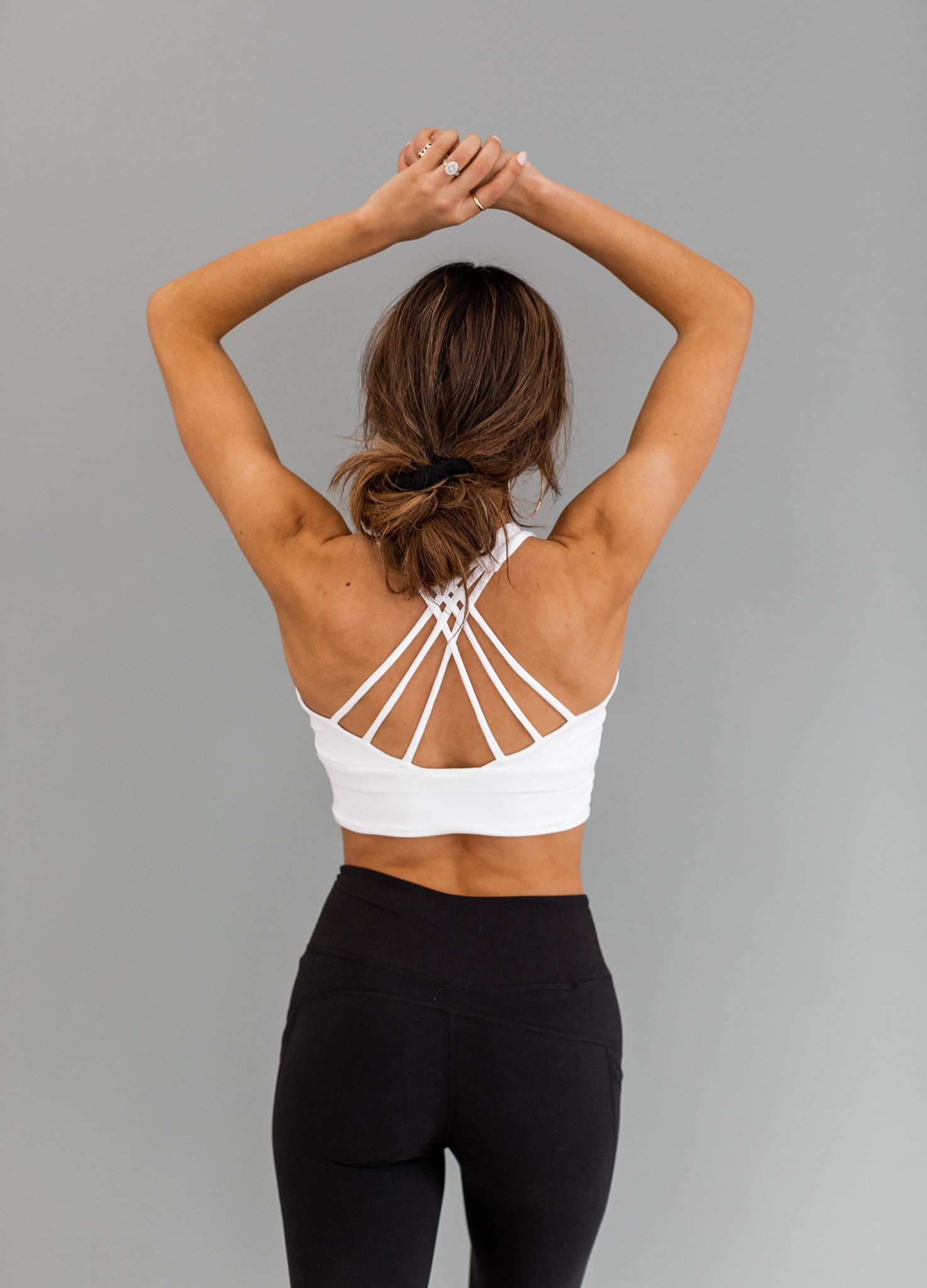 The Meg Criss Cross Sports Bra in Coral and White