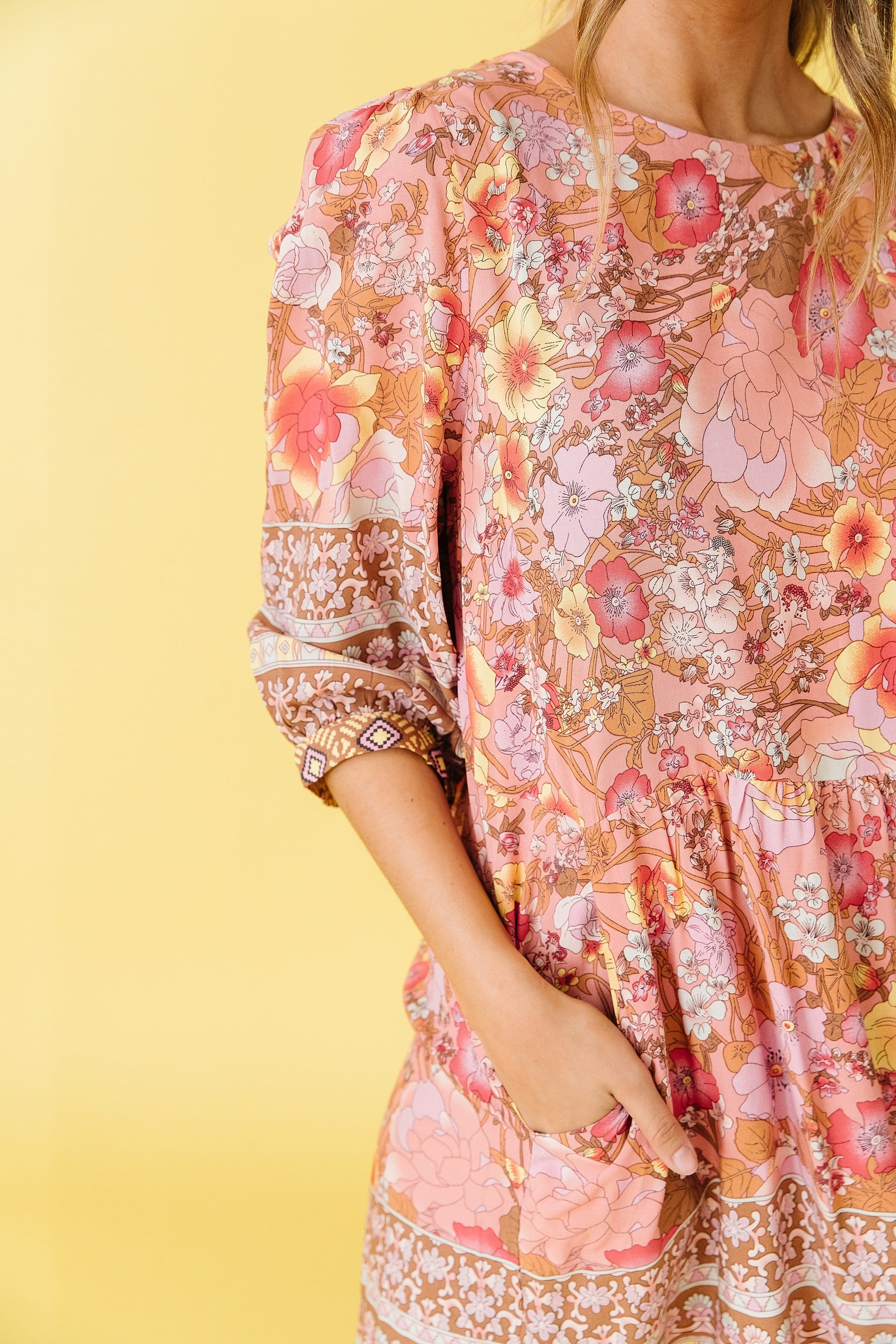 The Mira Floral Print Dress in Multi