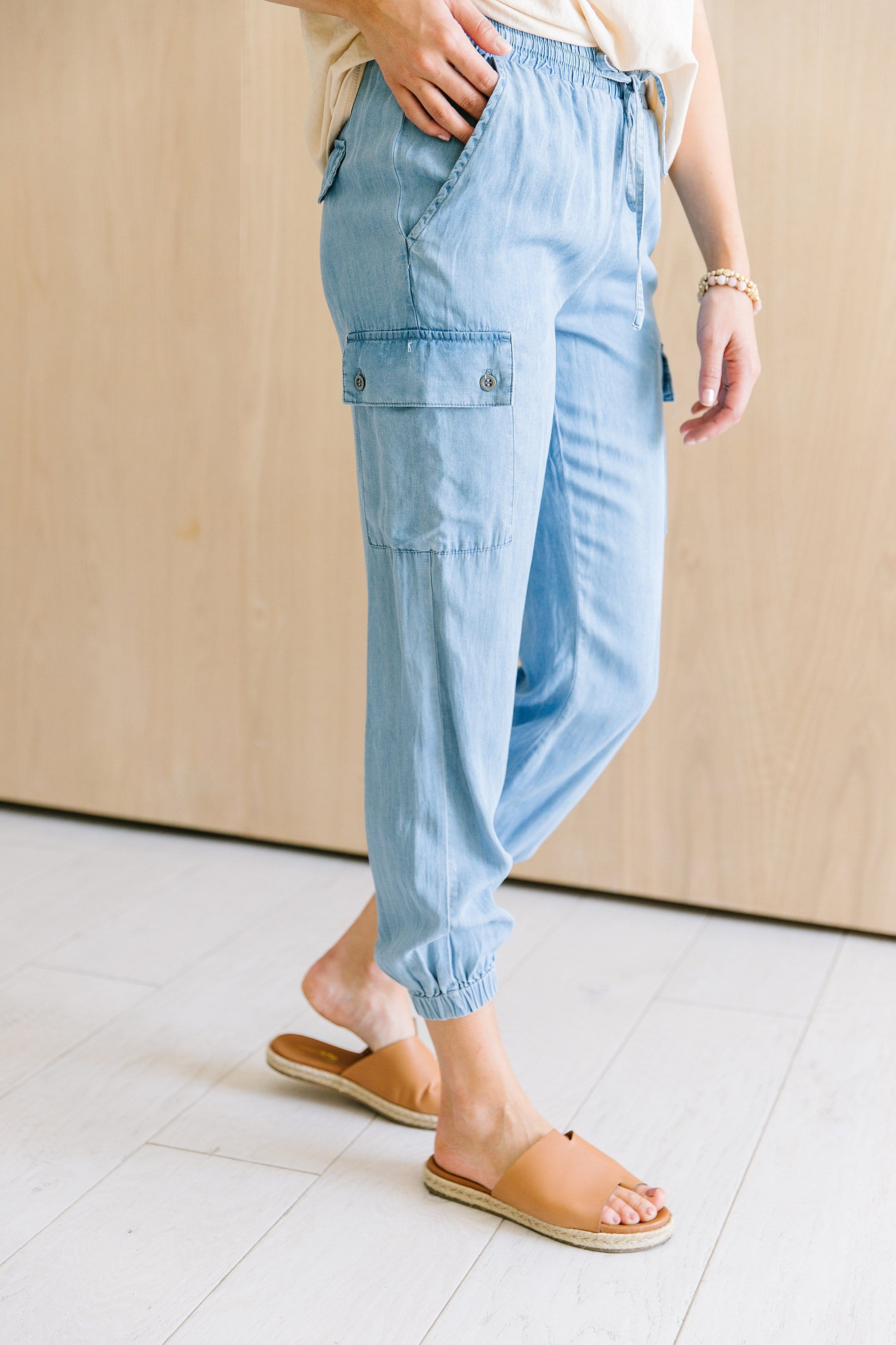The Monterey Casual Pants in Denim, Rust and Olive
