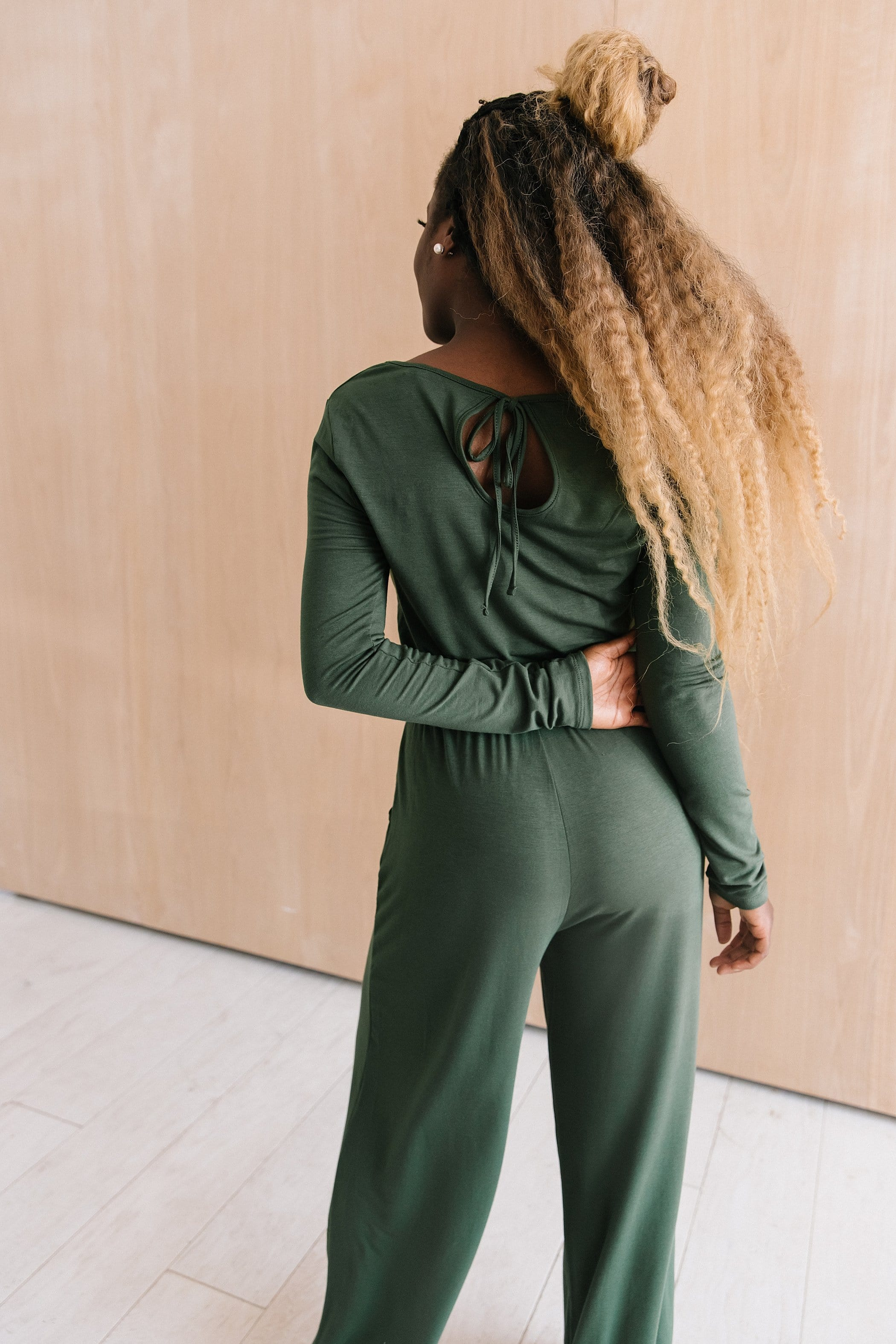 The Montgomery Long Sleeve Romper in Black and Green