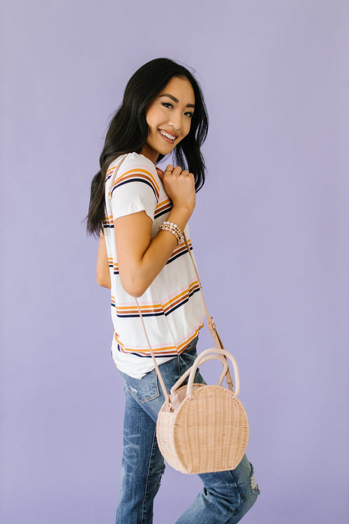 The Myles Multi Color Stripe Top in Cream