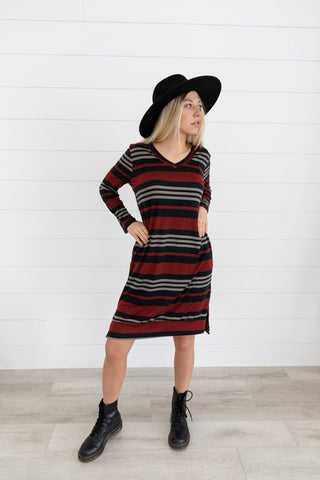The Novah Striped Dress in Navy