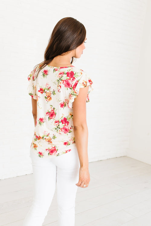 The Nattie Floral Top in Blush