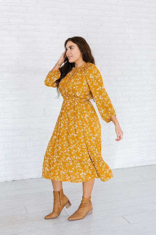 The Nayland Floral Midi Dress in Honey
