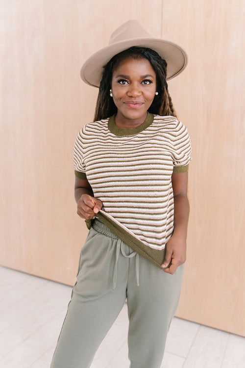 The Noah Striped Sweater in Olive/Pink