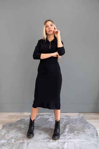 The Mirra Twist Front Midi Dress in Black
