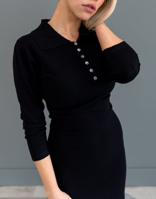 The Noelle Midi Sweater Dress in Black