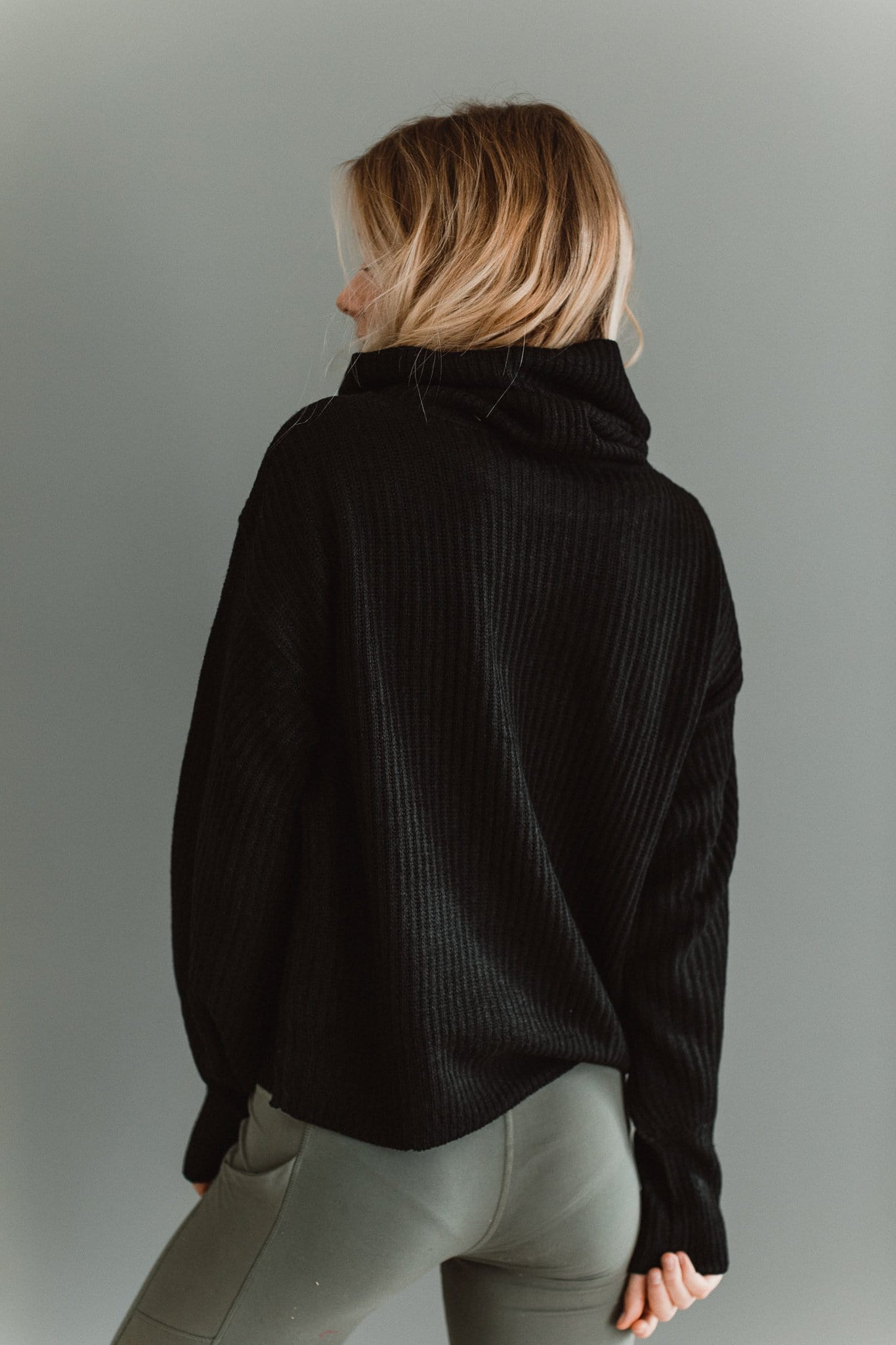 The Paige Cowl Neck Sweater in Black
