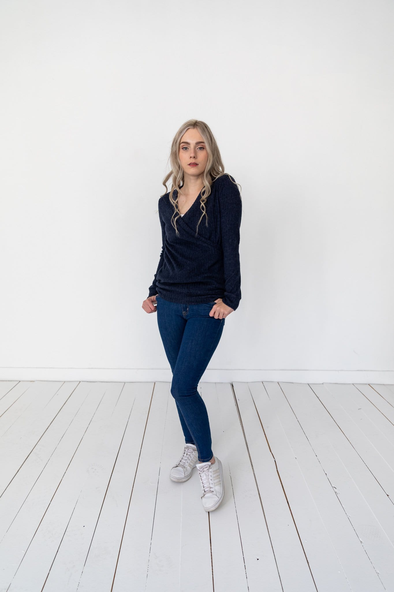 The Parkfield Wrap Sweater in Navy