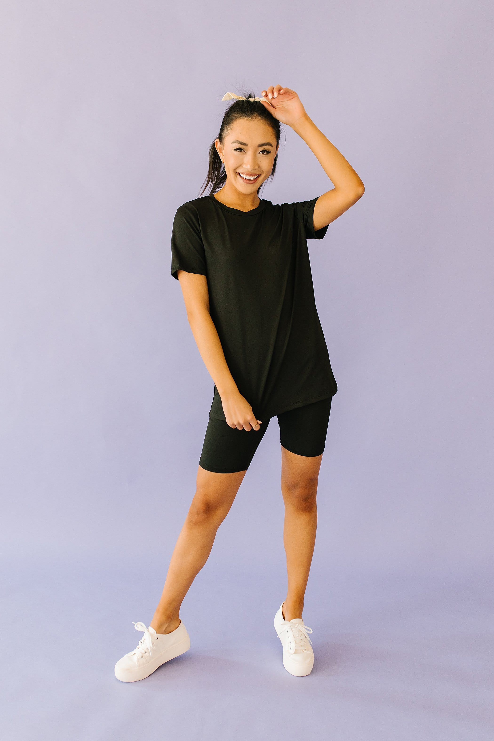 The Ramsey Top and Biker Short Set in Black or Pink