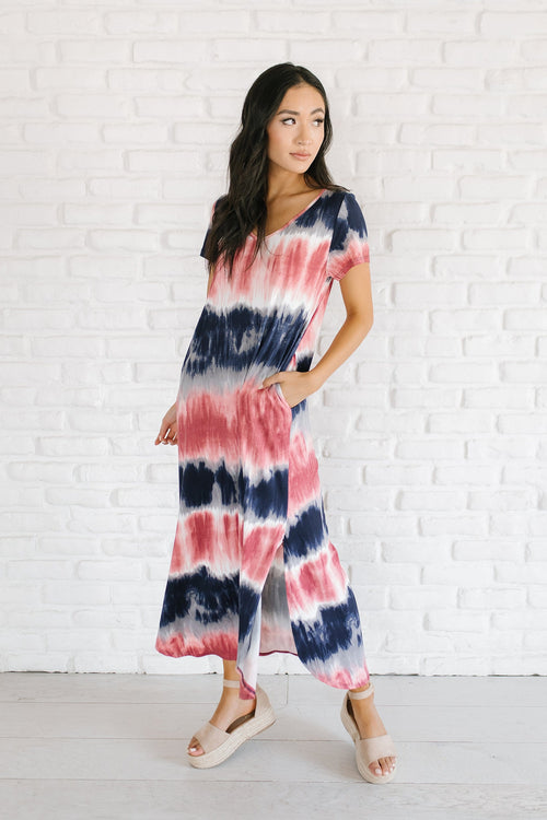 The Rani Tie Dye Maxi Dress in Navy