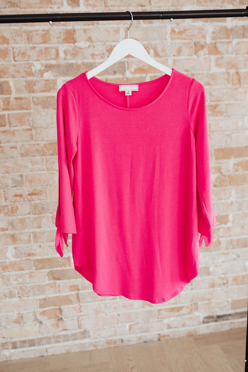 The Rebecca Tie Sleeve Top in Fuchsia