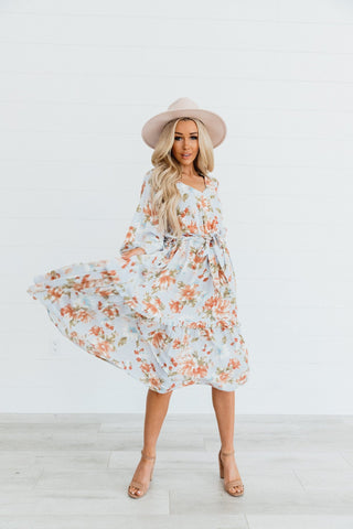 The Bess Floral Midi Dress in Ivory