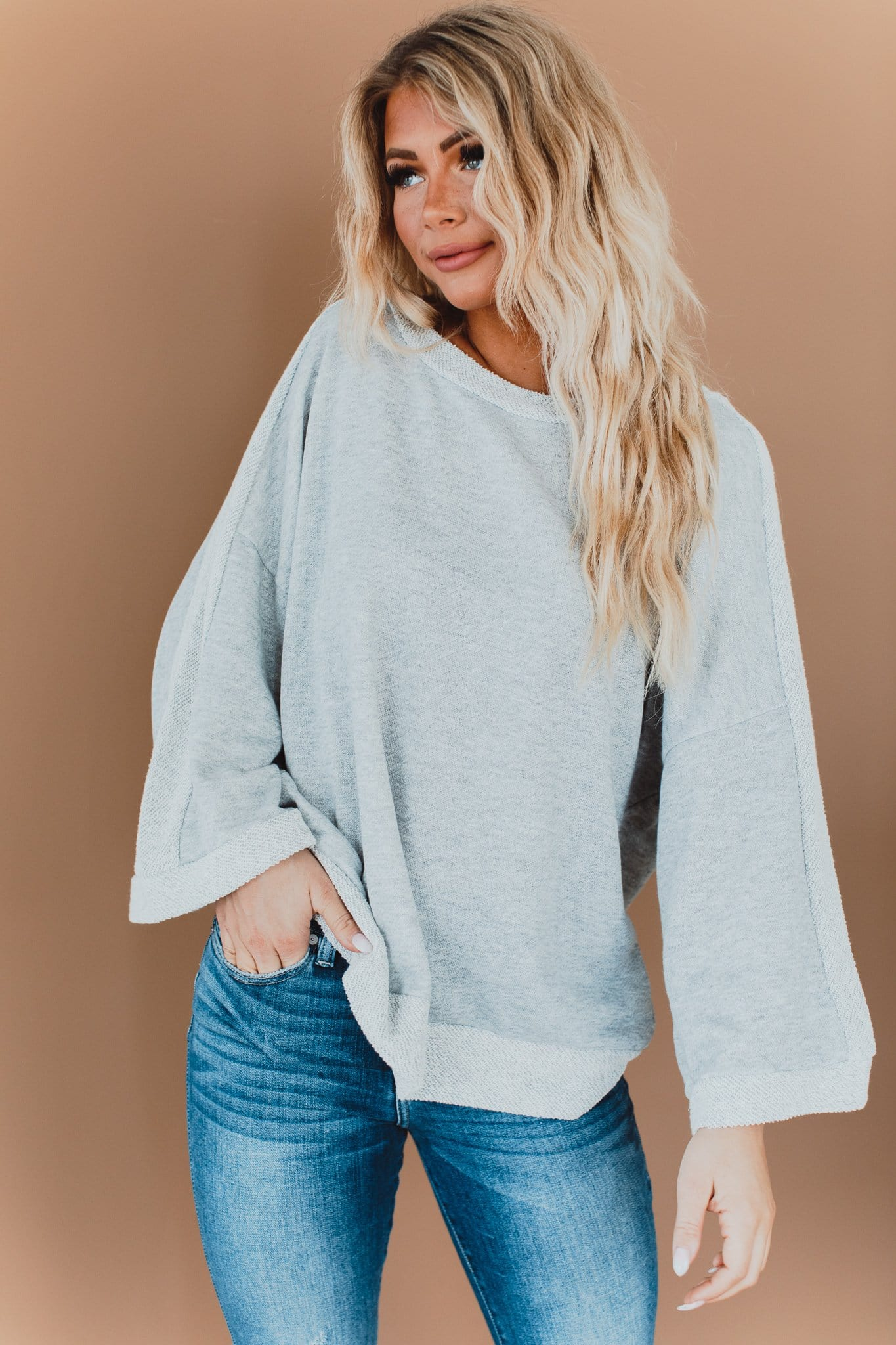 The Rivera Pullover Sweater Top in Grey