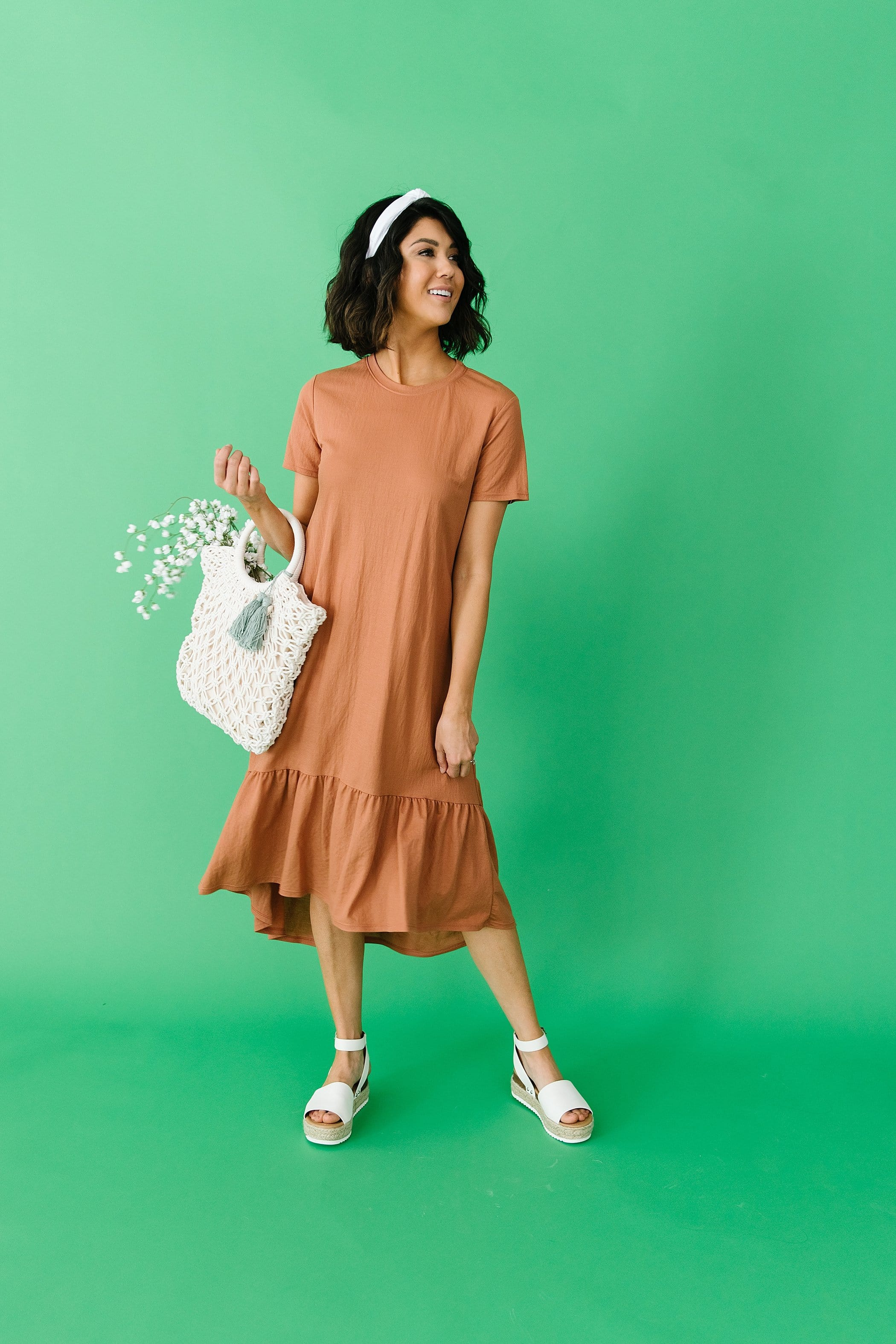 The Roane High Low Ruffle Dress in Rust
