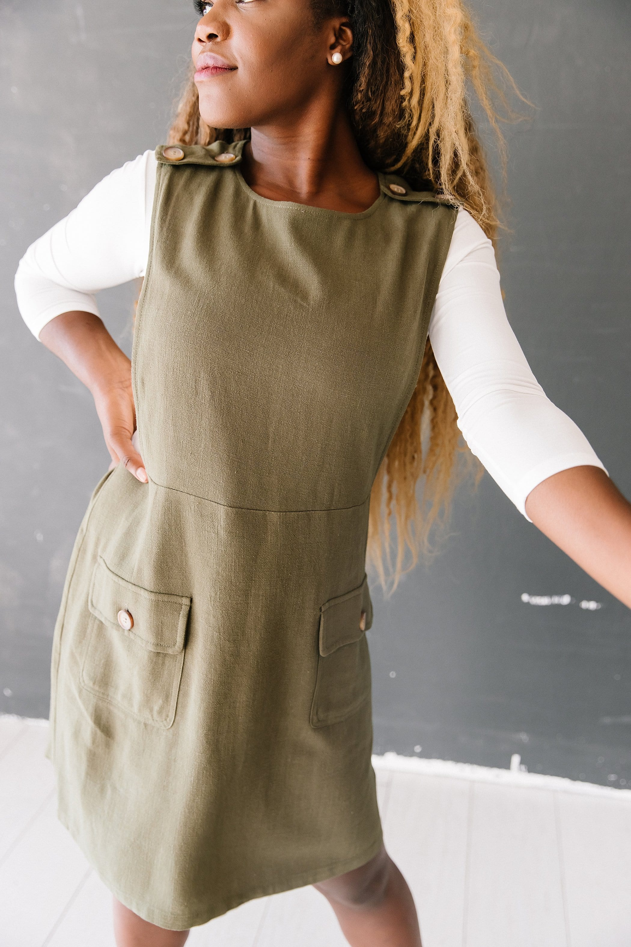 The Robinson Overall Dress in Olive