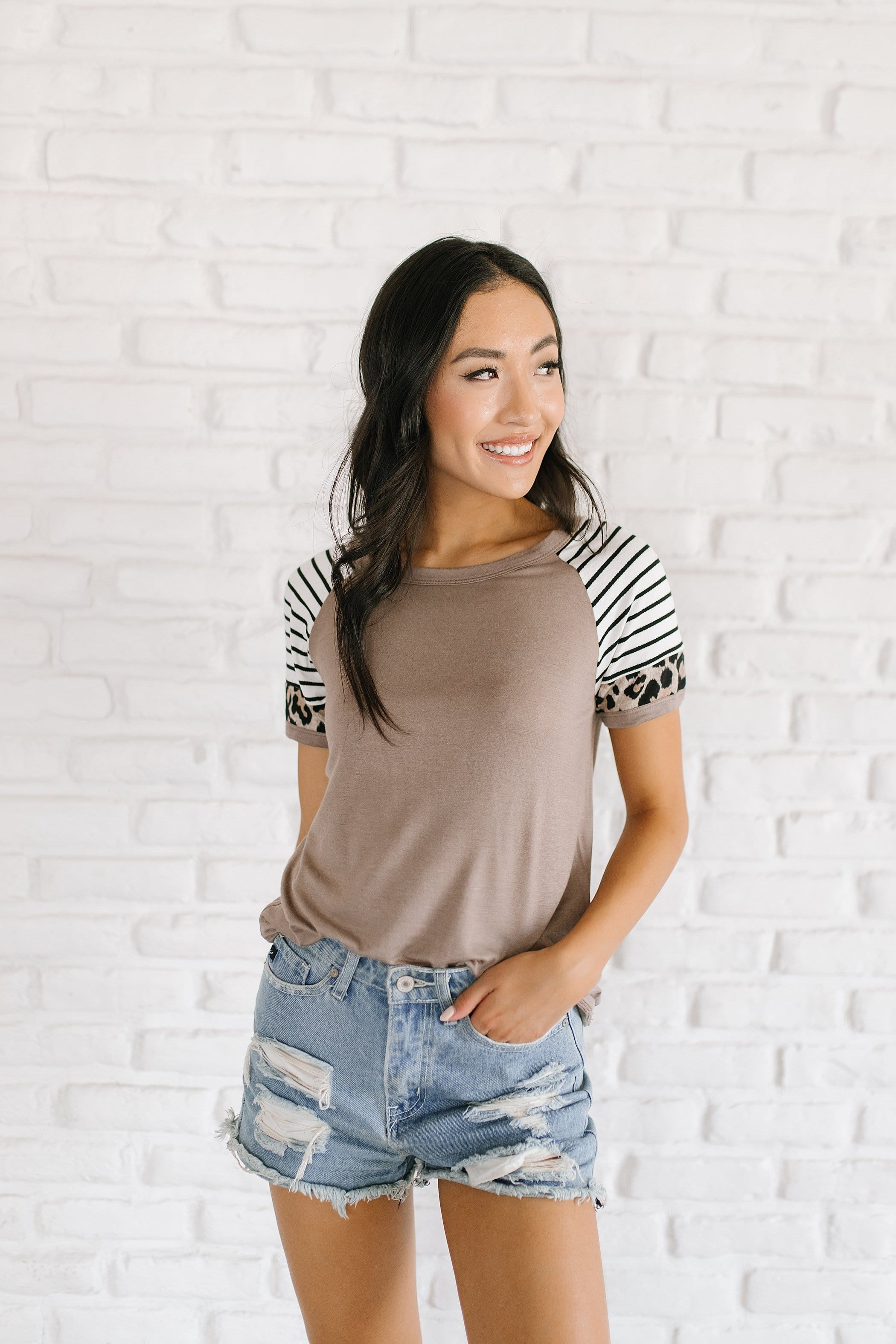 The Roma Animal Print Contrast Top in Mocha