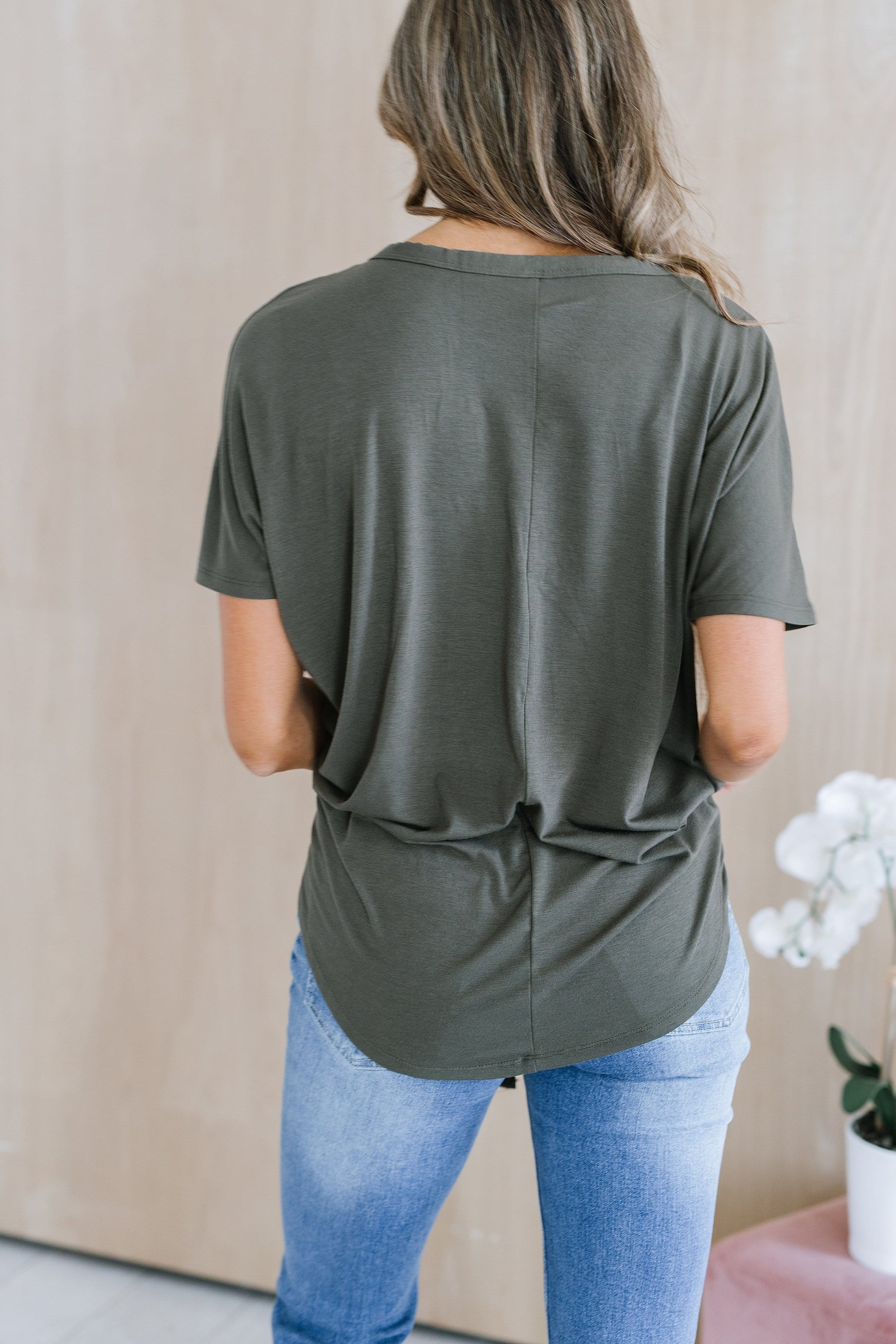 The Rosemary Front Knot Top in Olive