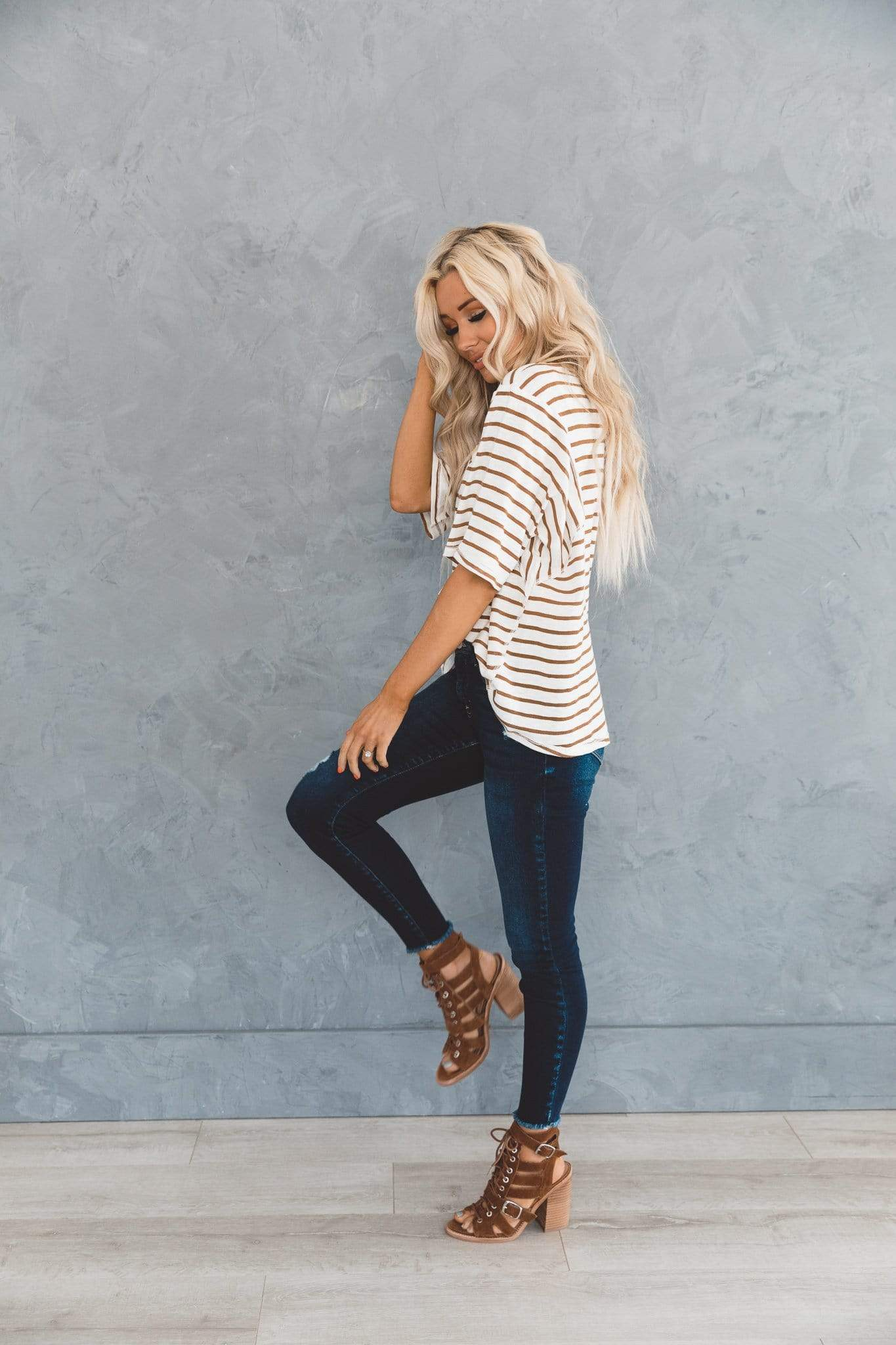 The Roth Striped V Neck Top in Taupe