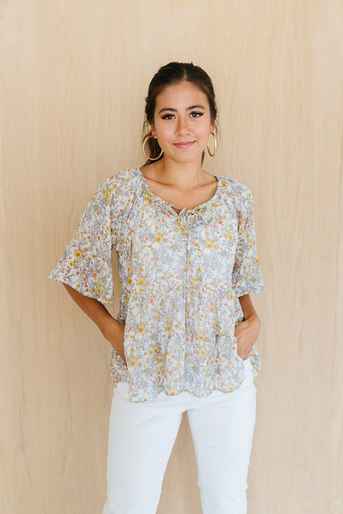 The Rowe Floral Tiered Top in Ivory