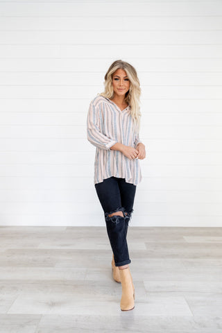 The Monica Striped Top in Olive