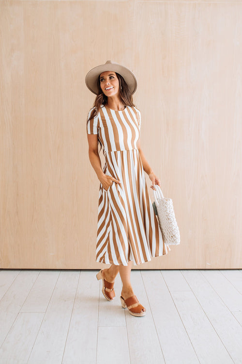 The Ryan Stripe Dress in Taupe