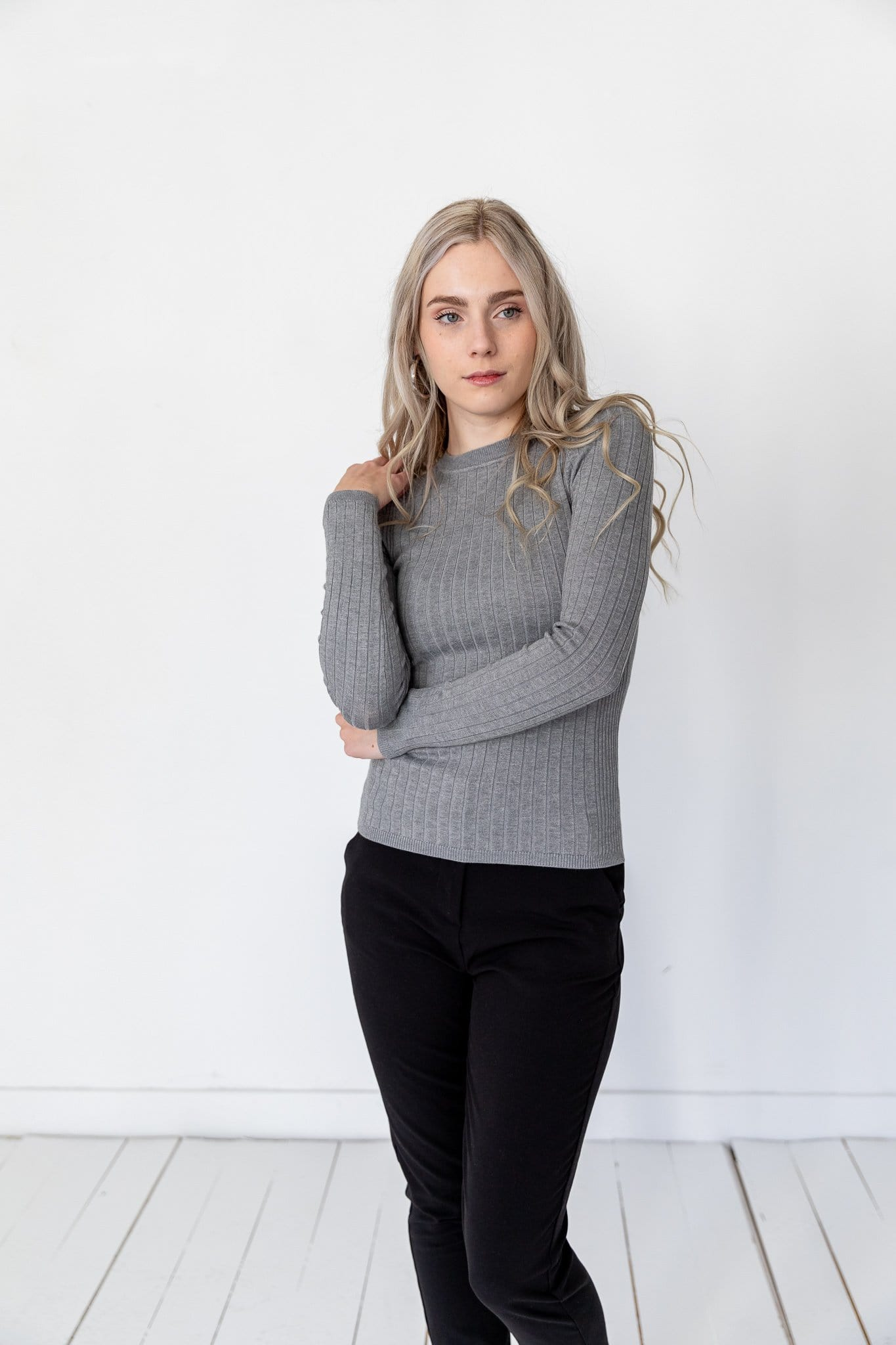 The Sadler Fitted Rib Sweater in Black, Heather Grey, Olive and Wine