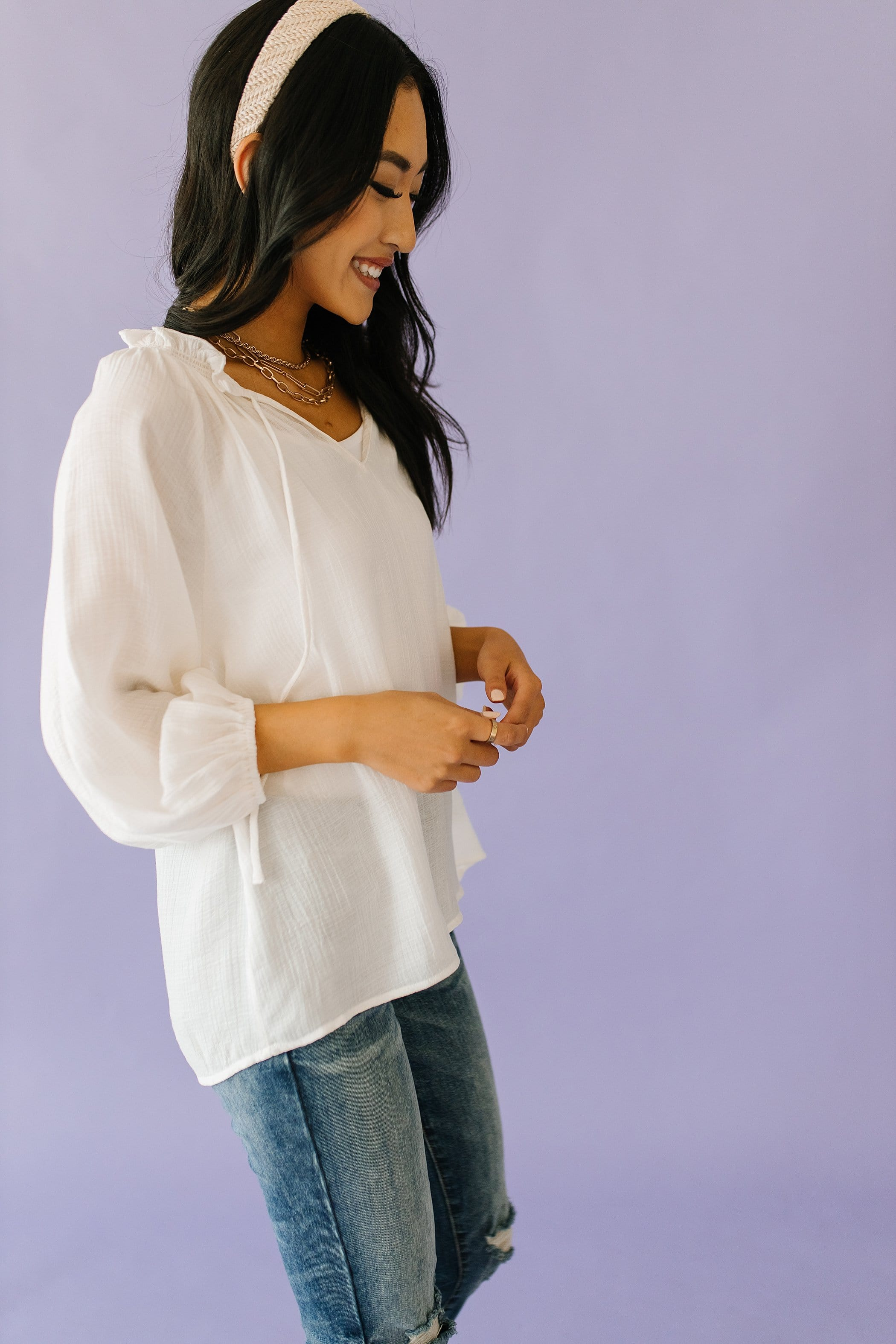 The Saige Peasant Top in White