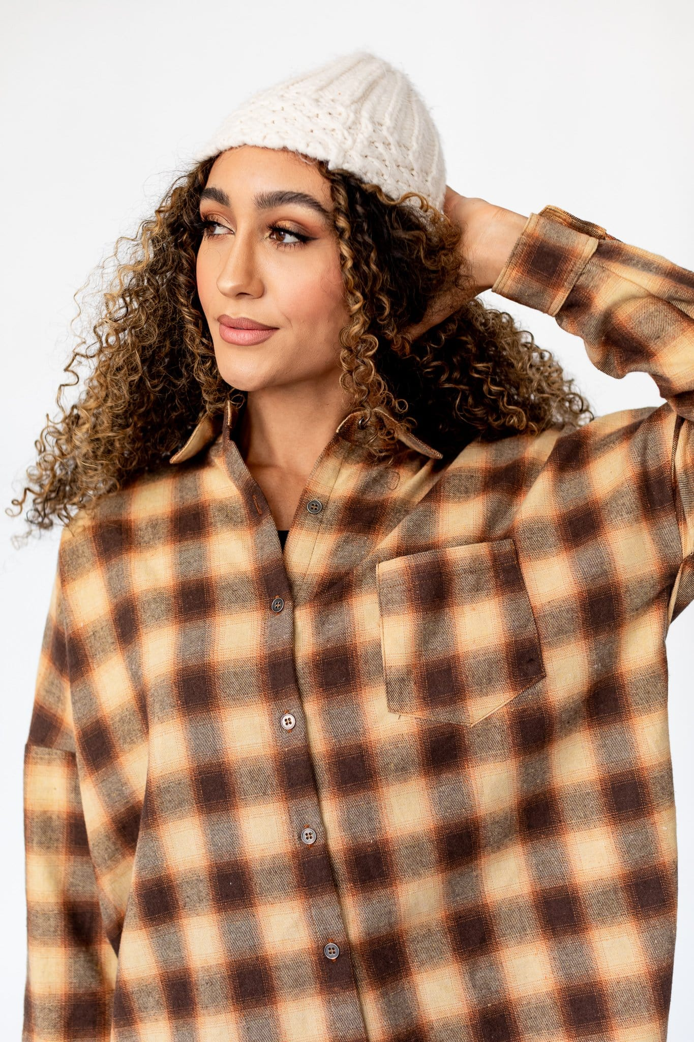 The Salina Plaid Button Down Top in Mocha