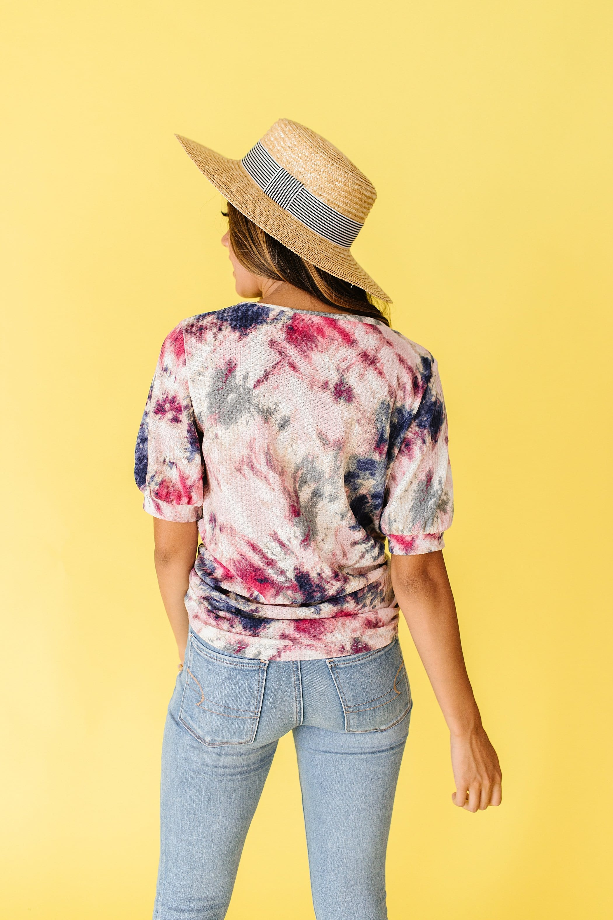 The Sasha Waffle Knit Tie Dye Top in Multi