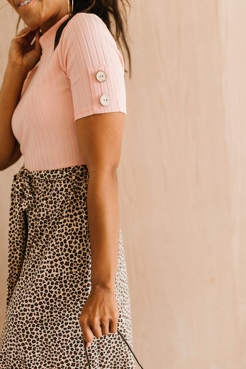 The Savana Mock Neck Dress in Blush with Animal Print