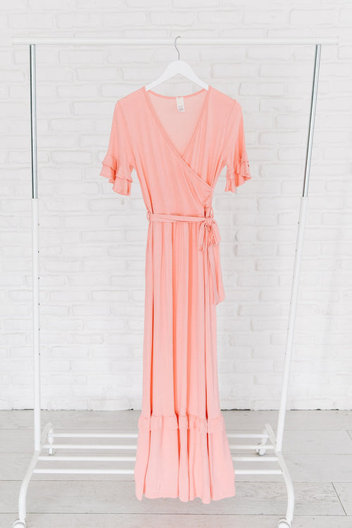 The Selene Ruffle Maxi Dress in Blush