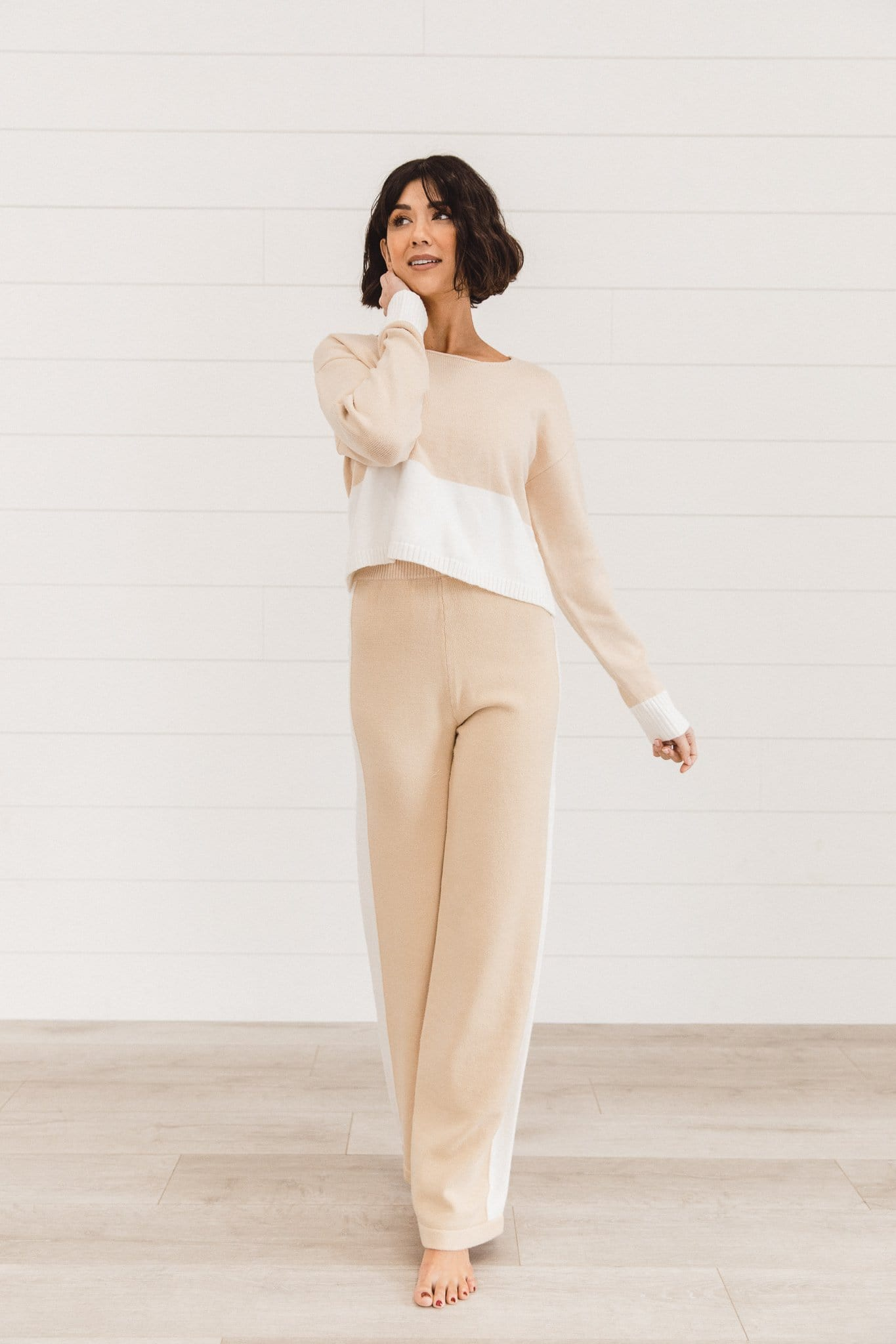 The Shaura Color Block Sweater Set in Beige