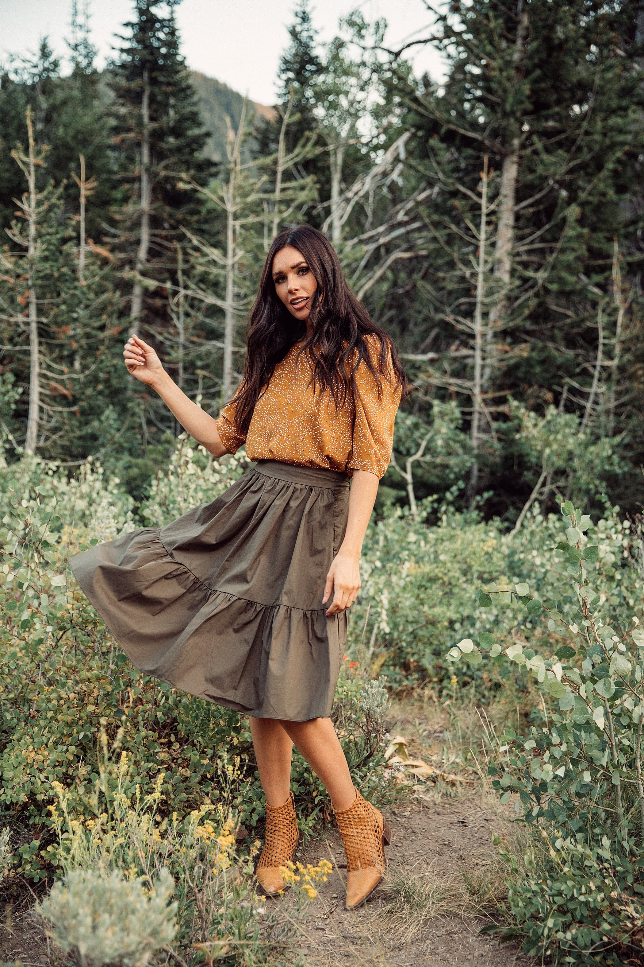 The Shaw Ruffle Skirt in Olive