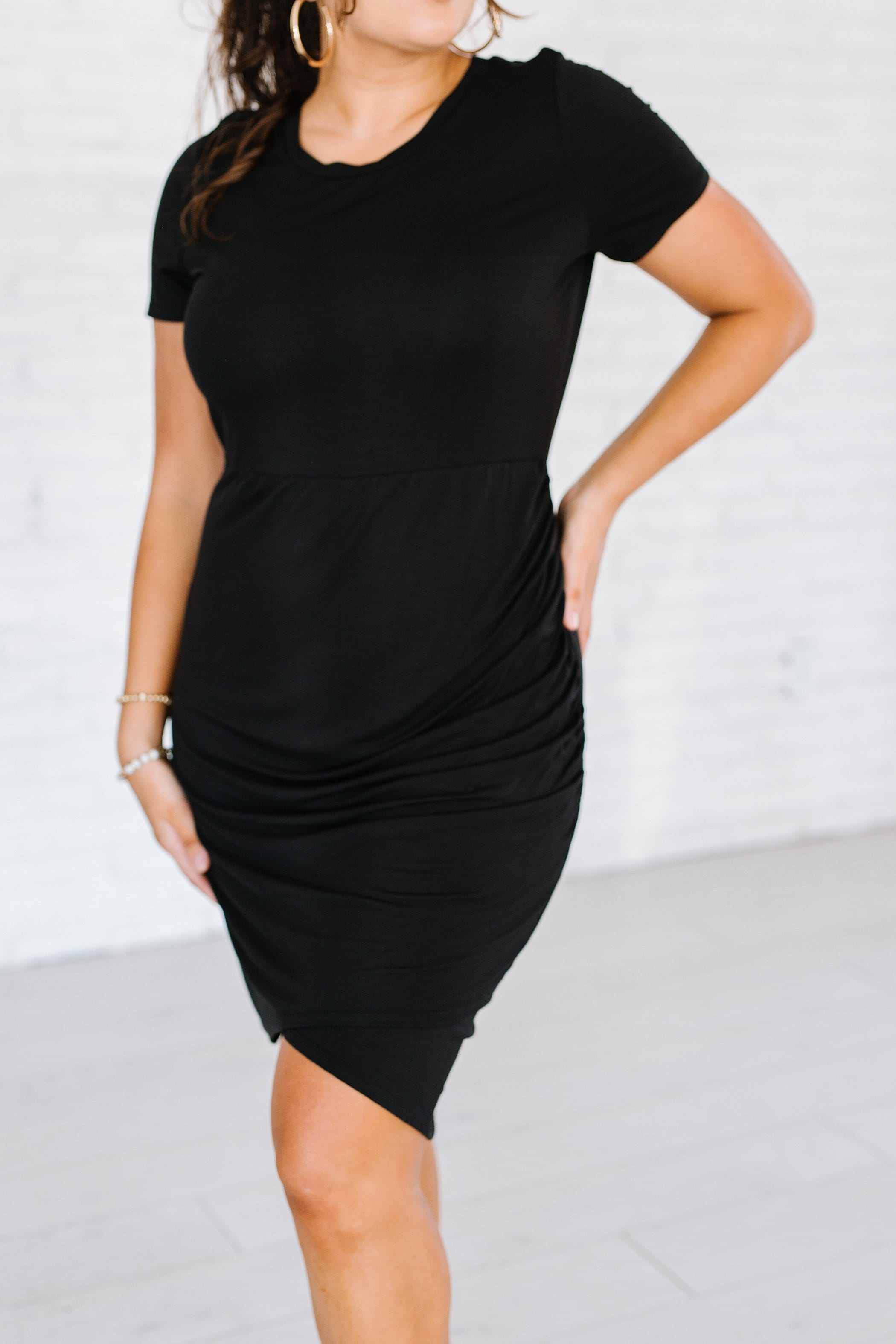 The Sheridan Asymmetrical Ruched Dress in Black