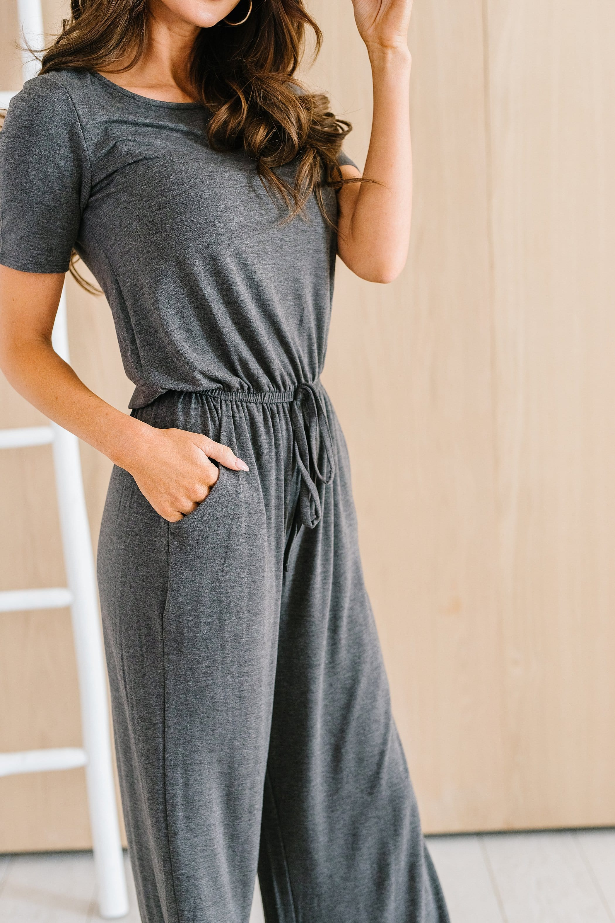 The Sierra Capri Romper in Blue Grey, Charcoal, Heather Grey, Light Olive and Rose